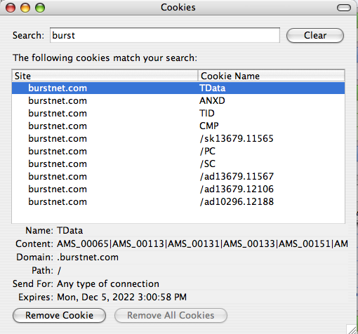 Burst Cookie Files