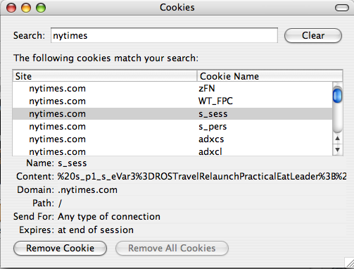 NYTimes Cookie Data